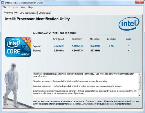 Intel Processor Identification Utility 5.01