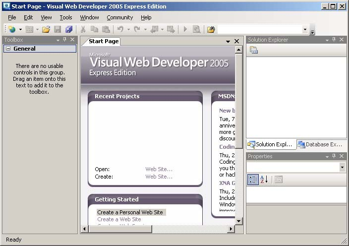 Visual Web Developer 2008 Express Edition